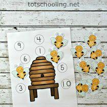 Bee Hive Number Matching Activity for Preschoolers