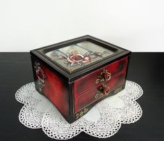 Saving up for this!!  Distressed Shabbyshic Red Black Jewelry Trinkets Box by flowerdeco, $59.00