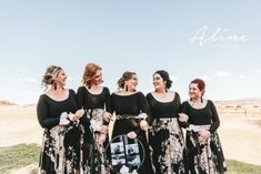 These beautiful bridesmaids look stunning in our dresses. Black is such a popular colour nowadays for weddings and it looks so classy and elegant. These ladies chose to add some floral skirt overlays and the maid of honor added a floral belt to her ensemble. Floral Bridesmaid Dresses, Bridesmaids, Wedding Dresses, Looking Stunning, Maid Of Honor, Dress Making, Overlays, Designer Dresses, Classy