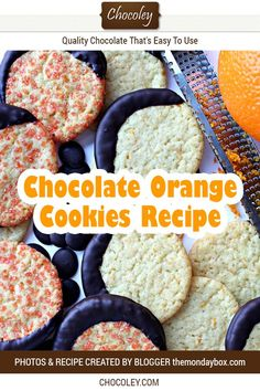 Delicious sugar cookies baked with orange zest and orange sugar and dipped in luscious Chocoley dark chocolate. Easy DIY cookies to make at home. Great for fall and Halloween! Chocolate Orange Cookie Recipe, Chocolate Dipped Cookies, Chocolate Recipes, Vegan Shortbread, Cookie Recipes, Dessert Recipes, Single Serving Recipes, Halloween Chocolate, Caramel Recipes