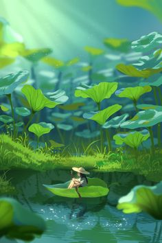 Cute Cartoon Wallpapers, Animes Wallpapers, Pretty Art, Cute Art, Aesthetic Art, Aesthetic Anime, Pond Drawing, Environment Painting, Anime Scenery