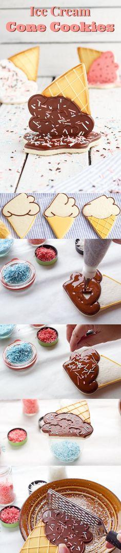 Ice Cream Cone Cookies - The Bearfoot Baker