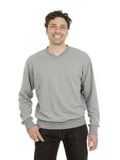 Style #501 - Men's V-neck Sweater - French Terry  50% Organic Cotton / 50% Recycled Polyester– 10oz Available in Heather Navy – Heather Black – Heather Red – Heather Grey