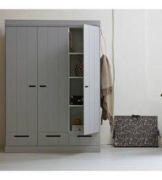 LEF collections Kledingkast Connect 3 deurs strokendeur met lades beton grijs grenen 195X140X53cm - wonenmetlef.nl