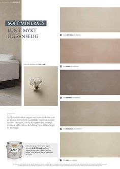 Lady Minerals - kalkmaling by Jotun Dekorativ AS - issuu Door Design Interior, Room Interior, Interior Design Living Room, Best Paint Colors, Wall Colors, Jotun Lady, Colour Pallete, Decorating Blogs, Minimalist Home