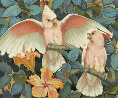 """art-and-things-of-beauty: """" Jessie Arms Botke (American, 1883-1971). Major Mitchell's Cockatoos, oil and goldleaf on board, 50,8 x 70 cm. """""""