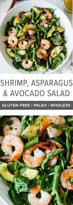 This shrimp, asparagus and avocado salad is utterly delicious and perfect for spring. It's a light, vibrant, creamy, healthy avocado salad. #avocadosalad #shrimpsalad #asparagus #shrimp #avocado