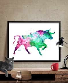 Animal Bull Painting Bull Watercolor Print by FineArtCenter