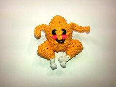 Rainbow Loom - 3D Happy TURKEY Charm. Designed and loomed by Ellen Carpenter at feelinspiffy. Click photo for YouTube Tutorial. 10/25/14.