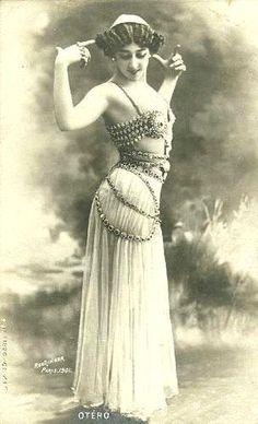 Burlesque artist La Belle Otero wearing Art Nouveau style belly dancing costume.