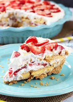 No Bake Strawberry Lemon Cookie Pie - Life Love and Sugar