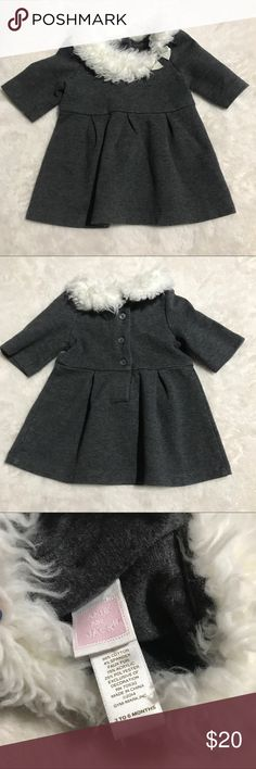 Janie and jack 3-6 month fur collar dress Great lightly worn condition Janie and jack 3-6 month Heathered gray dress with faux fur collar and satin bow. Janie and Jack Dresses