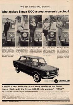 Chrysler Simca 1000 Car (1964) What's with the headline? Cousin Ebbie (Evelyn) in Tuscumbia ALA let me drive hers alone once I had my License.