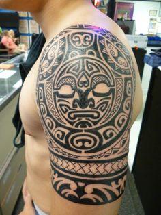 Polynesian half sleeve tattoo by Lucky at Tattoo Charlies, Preston Hwy Louisville KY