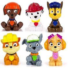 Nickelodeon Paw Patrol Mini Figurine/Cake Toppers ~ set of 6 Rocky, Zuma, Skye, Rubble, Marshall & Chase