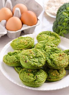 Mini Green Frittatas -- Broccoli, spinach and oats make a delicious, healthy and easy breakfast on the go. P.S. Don't be hung up on the looks.;) #cleaneating #glutenfree