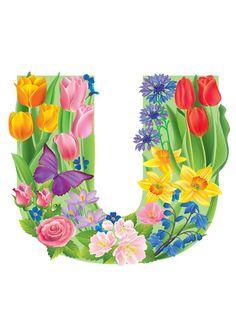 The Letter U ~ Spring Garden Alphabet Flower Alphabet, Monogram Alphabet, Alphabet And Numbers, All Flowers, Colorful Flowers, Birthday Logo, Floral Letters, Spring Garden, Bunt
