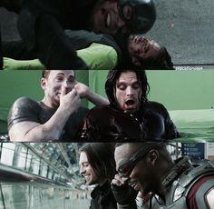 Chris Evans and Sebastian Stan behind the scenes of Civil War