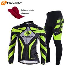 NUCKILY Long Sleeve Breathable Cycling Clothing 3D Gel Pad Pants Sport Clothes Autumn MTB Road Bike Bicycle Cycling Jersey Set #Affiliate