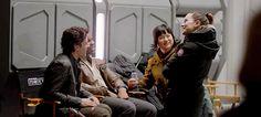 """Oscar Isaac, John Boyega, Kelly Marie Tran and Daisy Ridley on the set of Star Wars: The Last Jedi. """