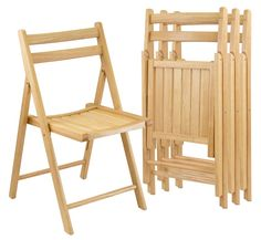 4pc Set of Solid Wood Folding Chairs, Natural finish, Traditional style with curved back and slatted seat for comfortable seating, Seat size is 17.5'' x 20'', Chairs fold for easy storage when not in use, We're sorry; at this time, Winsome Wood products do not ship to Canada