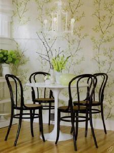 bentwood chairs pretty wallpaper saarinen tulip table bamboo chandelier = sweet yet simple
