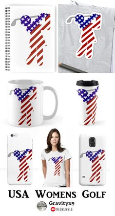 Patriotic All-American  Golfers for Men's Golf and Women's Golf ~ These patriotic designs are available on a variety of products including tee shirts, home decor, prints, stickers and more. Click on the men's or women's golf design to find your products!