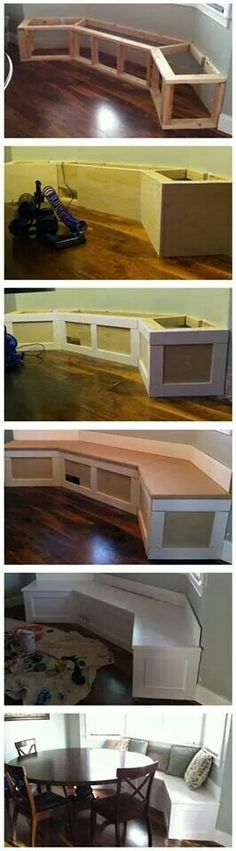 Great idea for a small dinette area .... storage too!