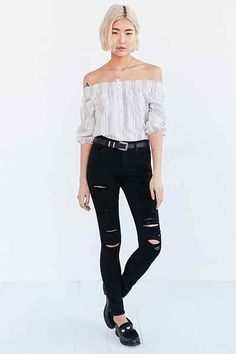 AGOLDE Sophie High-Rise Distressed Skinny Jean - Black - Urban Outfitters