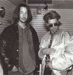 Keanu Reeves and River Phoenix backstage at a Pearl Jam/ Red Hot Chili Peppers/ Nirvana concert . My Own Private Idaho, River Phoenix Keanu Reeves, Films Cinema, Keanu Charles Reeves, River I, Joaquin Phoenix, Johnny Depp, Actors & Actresses, Pop Culture