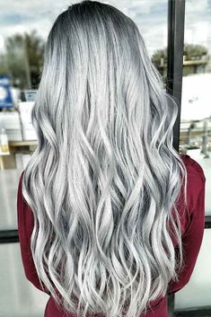 Trendy Hair Color Picture DescriptionA silver hair color is our future. That is why we have created a photo gallery featuring the sassiest looks with silver and we will also help you learn how to get and then how to maintain a super-chic silver hair hue. Blond Ombre, Ombre Hair Color, Silver Grey Hair, Silver Ombre, Silver Hair Colors, Grey Hair Colors, Super Hair, Blonde Highlights, Silver Highlights
