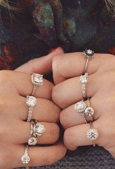 Diamonds Are a Girls Best Friend #layered #rings #diamonds