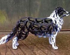 Collie horse shoe dog