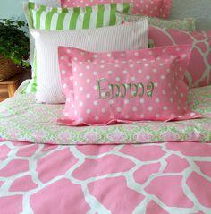 Duvet Cover & Euro Sham - Girls Bedding -  Twin Bedding - Full/Queen Available. $230.00, via Etsy.