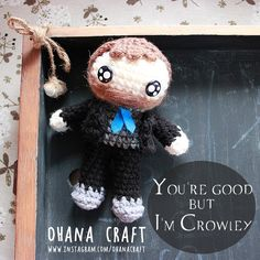 Crowley-King of hell and his hell hound inspired crochet doll https://www.instagram.com/ohanacraft/