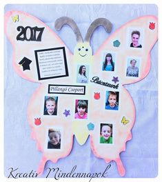 Óvodai tabló  Óriás fa pillangóra készített tabló a gyerekek és óvónéni fotóival. Szöveggel, felirattal dekorálva.  Az óvoda dísze lett.  #óvoda #ovisajándék #óvónéninek #ovisballagás #ballagásiajándék #tabló #ovistabló Fa, Decor, Decoration, Decorating, Deco