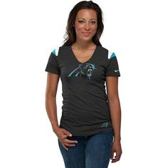 Carolina Panthers Women's Black Nike Fashion V-Neck T-Shirt