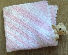 Crochet Baby Blanket Afghan in Pink and White £12.00