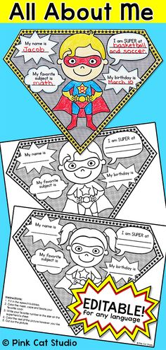"All About Me Superhero Pennants: Perfect for the first day of school! Your students will have a blast with this fun Superhero theme ""All About Me"" activity. There are 4 superheroes to choose from, two boys and two girls. An editable PowerPoint is included so that you can change the text to any language and even change what your students will write about. The completed pennants will look fantastic on a bulletin board and you can even string them together  and hang them in your classroom…"
