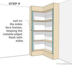 step 9 - corner bult-in bookshelves Creative Bookshelves, Corner Bookshelves, Diy Bookcases, Bookshelf Ideas, Book Shelves, Building Bookshelves, Bookshelf Design, Book Storage, Open Shelves