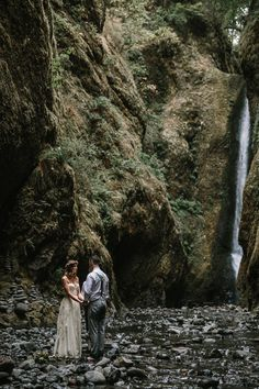 barefoot waterfall wedding in Oneonta Gorge, Oregon photographed by Jess Hunter