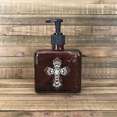Soap Dispenser, Lotion Dispenser, Bathroom Decor, Bronze Glass Bottle Decor