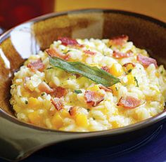 Butternut squash Risotto.   Love the way risotto gets creamy. Never made this with the bacon but what isn't better with bacon?