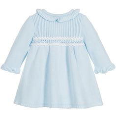 Baby girls pale blue knitted coat and bonnet by Foque. In a soft feel, this traditionally-styled design has white trims and a button fastening. It comes with a matching bonnet with ribbon ties.