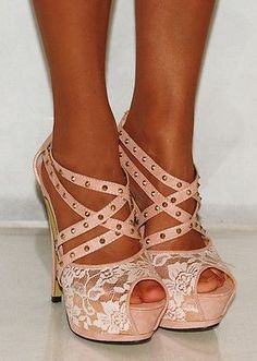 Nude Lace Strappy Studs Stiletto Platforms High Heels