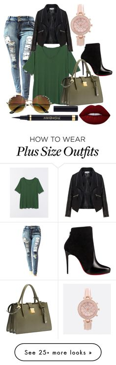 """Plus size rocks!"" by danny0803 on Polyvore featuring Lane Bryant, Zizzi, Christian Louboutin, Avenue, Lime Crime and Miu Miu"