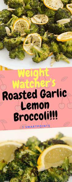 Weight Watcher's Roasted Garlic Lemon Broccoli – One Of Recipe Weight Watchers Sides, Weight Watchers Lunches, Weight Watchers Soup, Wieght Watchers, Weight Watchers Vegetarian, Ww Recipes, Vegetarian Recipes, Cooking Recipes, Healthy Recipes
