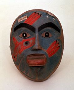Ceremonial mask, Tlingit, c. 1810. This mask was collected by F.P. Wrangell, Cheif Manager of the Russian-American Company from 1830 to 1835, at its headquarters in Sitka, Alaska. Wood, pigment. Estonian State History Museum, Tallinn.