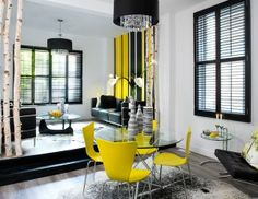 Yellow accent in a modern interior.