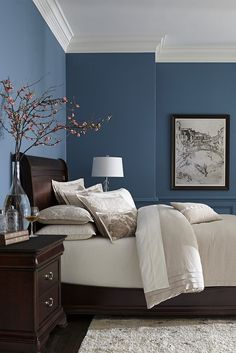Master Bedroom Paint Ideas New Ideas Blue Bedroom Wall Colors Master Bedroom Wood Trim Best Bedroom Paint Colors, Bedroom Color Schemes, Blue Bedroom Paint, Colors For Bedrooms, Dark Blue Bedroom Walls, Bedroom Wall Colour Ideas, Calming Bedroom Colors, Peaceful Bedroom, Dark Walls